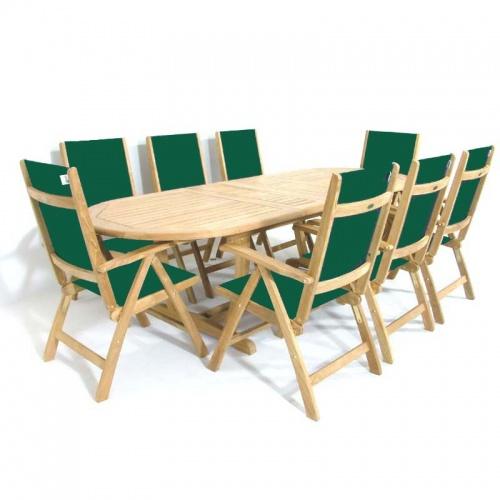 Teak Oval Wood Table - Sunbrella Teak Recliner Set - Picture A