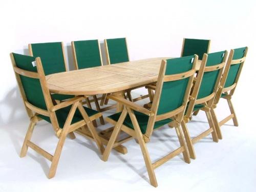 Teak Oval Wood Table - Sunbrella Teak Recliner Set - Picture B