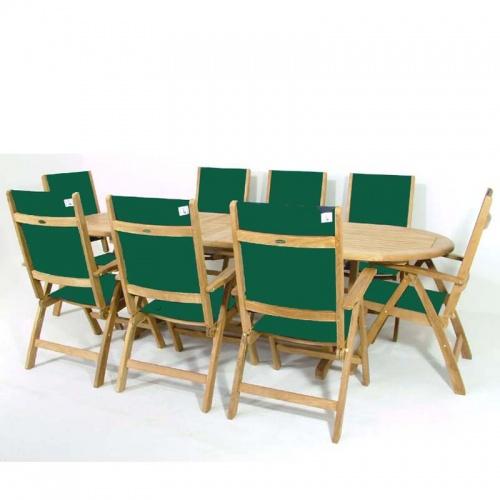 Teak Oval Wood Table - Sunbrella Teak Recliner Set - Picture C