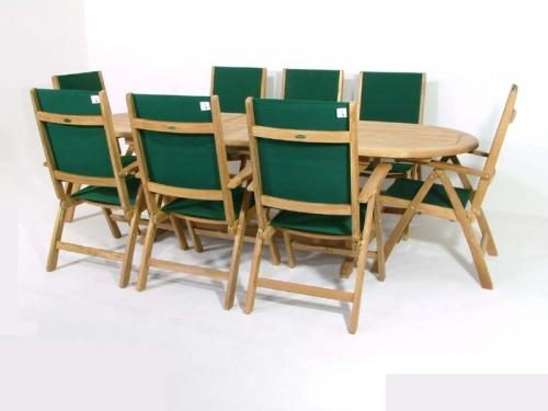 Teak Oval Wood Table - Sunbrella Teak Recliner Set - Picture E