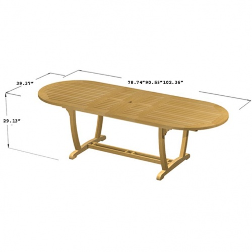 Teak Oval Wood Table - Sunbrella Teak Recliner Set - Picture F