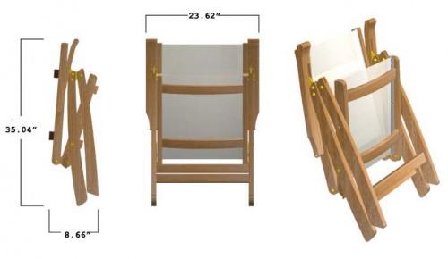 Teak Oval Wood Table - Sunbrella Teak Recliner Set - Picture G