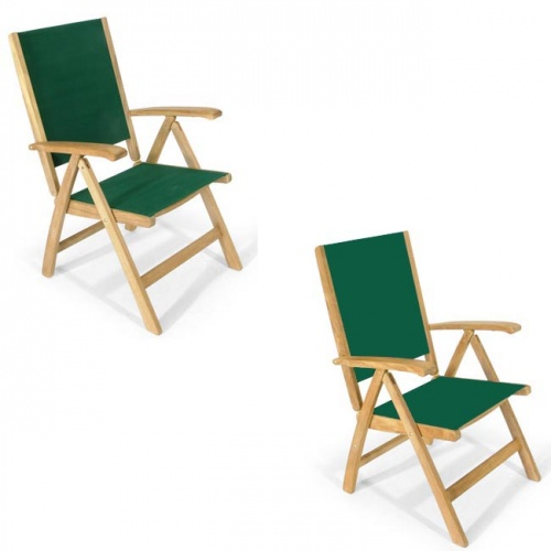 Teak Oval Wood Table - Sunbrella Teak Recliner Set - Picture I