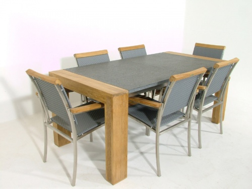 Teak Granite Dining Chair Set for 6 - Picture B