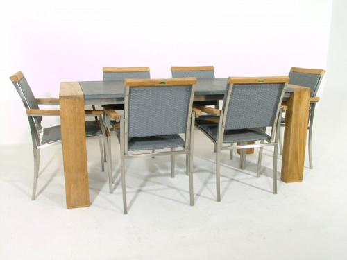 Teak Granite Dining Chair Set for 6 - Picture C