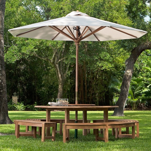 round teak picnic table sets