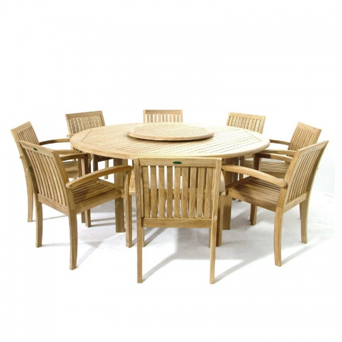 Teak Wood Round Table Stacking Armchair Set - Picture A