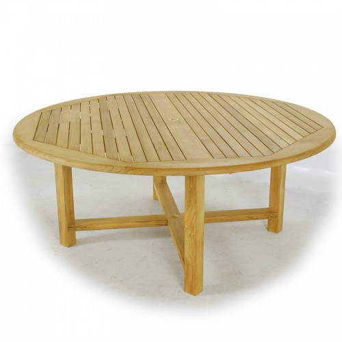 Teak Wood Round Table Stacking Armchair Set - Picture B
