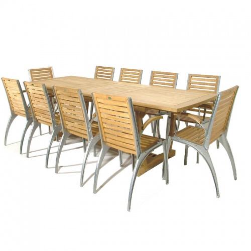 Grand Teak Table Aluminum Armchair Set - Picture A