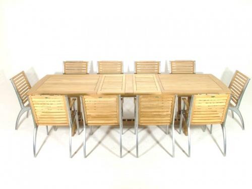 Grand Teak Table Aluminum Armchair Set - Picture B
