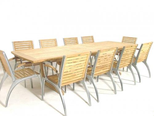 Grand Teak Table Aluminum Armchair Set - Picture C