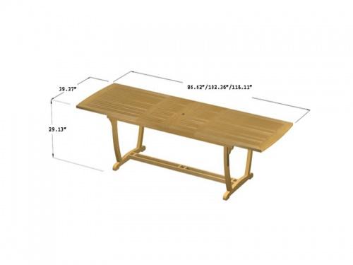 Grand Teak Table Aluminum Armchair Set - Picture D
