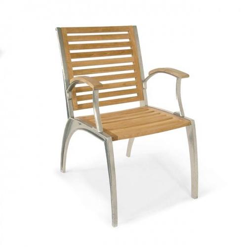 Grand Teak Table Aluminum Armchair Set - Picture E