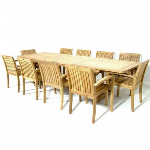 Teak Extendable Table Stacking Armchair Set - Picture A