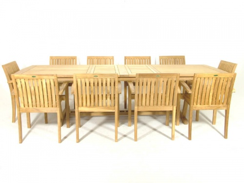 Teak Extendable Table Stacking Armchair Set - Picture B