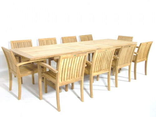 Teak Extendable Table Stacking Armchair Set - Picture C
