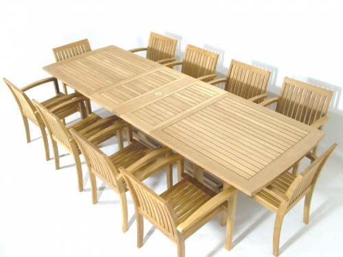 Teak Extendable Table Stacking Armchair Set - Picture D