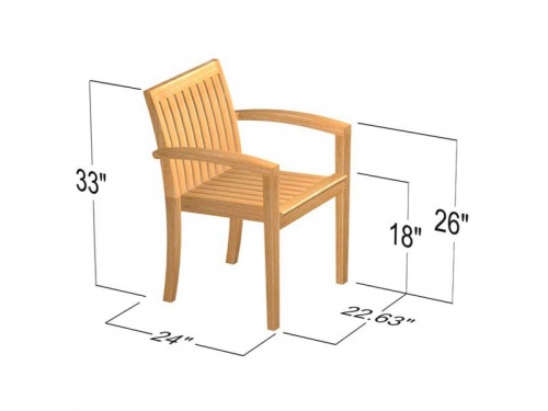 Teak Extendable Table Stacking Armchair Set - Picture F