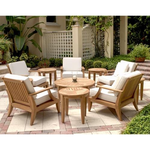 deep seating teak lounge sets