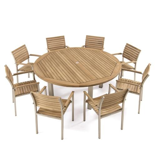 teak round tables