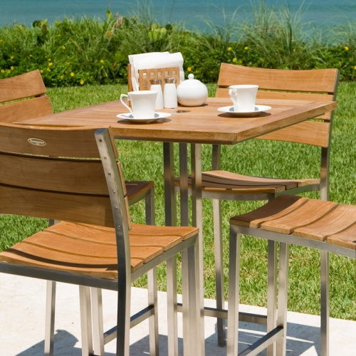Venezia Stainless SteelTeak Bar Furniture Set - Picture C