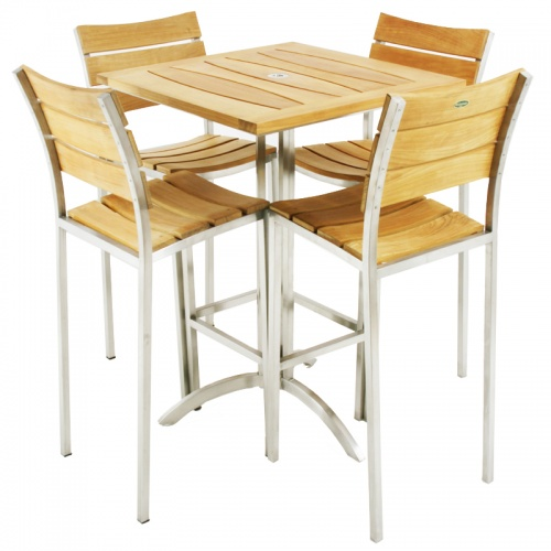 Venezia Stainless SteelTeak Bar Furniture Set - Picture E