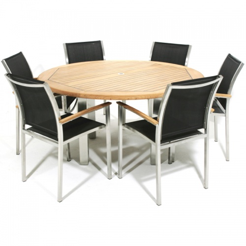 Teak & Stainless Steel Gemini Black Dining Set - Picture A