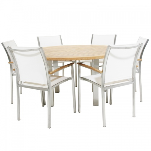 Teak Stainless Steel Gemini  Dining Set - Picture A