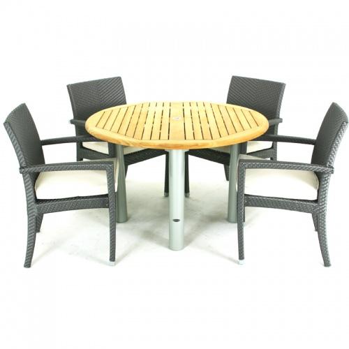 Gemini Sumba Teak & Aluminum Dining Set - Picture A