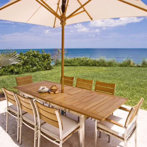 Teak and Stainless Steel Dining Set for 8 - Picture A
