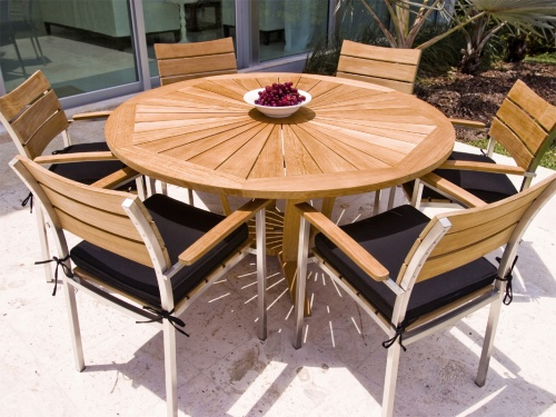 Stainless Steel Teak round table dining set - Picture A