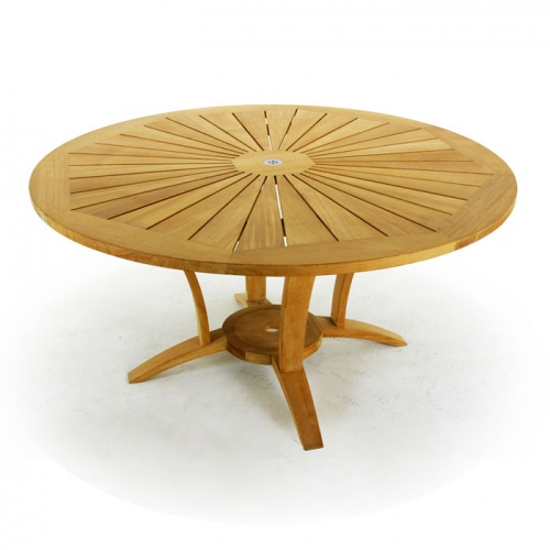 Stainless Steel Teak round table dining set - Picture C