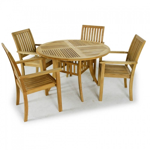 Grand Hyatt 4ft Teak Table with Teak Armchairs - Picture A