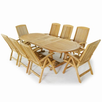 9pc Montserrat Reclining Teak Dining Set