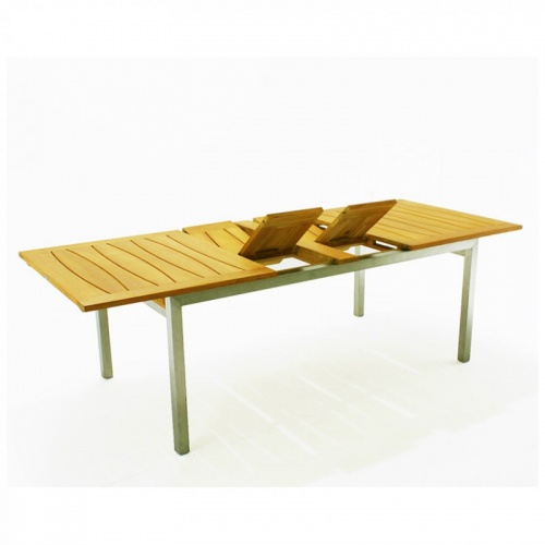 Teak & Stainless Steel Grand Dining Set for 8 - Picture C