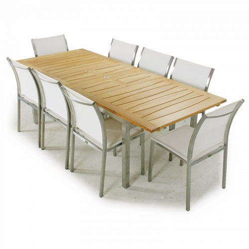 Venezia Gemini Teak & Stainless Steel Dining Set 8 - Picture A