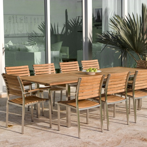 teak and stainless steel rectangular tables