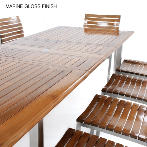 11 pc Vogue Teak & Stainless Steel Dining Set - Picture K