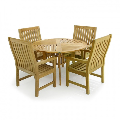 Grand Hyatt Teak Wave Arm Chair Set 4 - Picture A