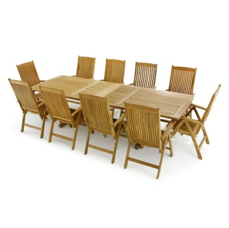 11 pc Reclining Teak Dining Set