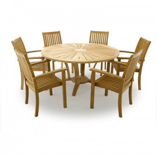 Sussex Stacking Venezia 5ft Table Teak Patio Set - Picture A