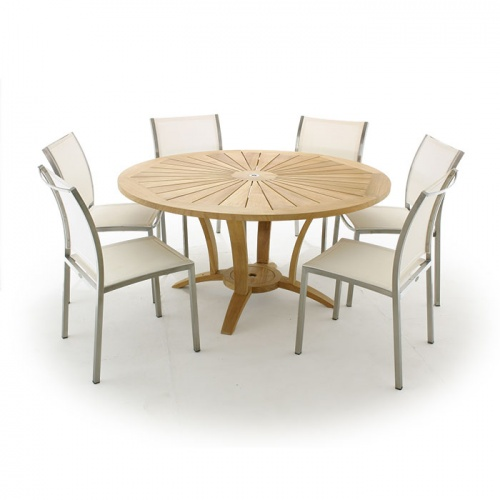 Venezia 5 ft Round Gemini Dining Set - Picture A