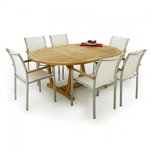 Martinique Gemini Teak & Stainless Steel Dining set for 6 - Picture A