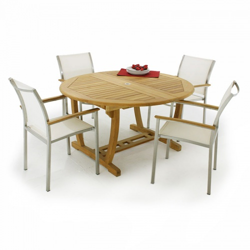 Martinique Gemini Teak & Stainless Steel Dining set for 6 - Picture G