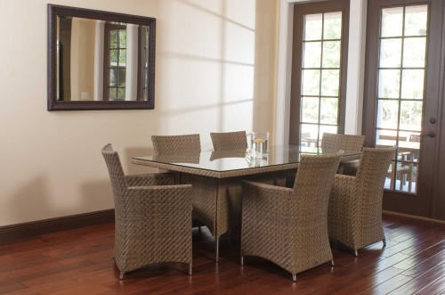 Valencia Wicker & Stainless Steel Dining Set - Picture A