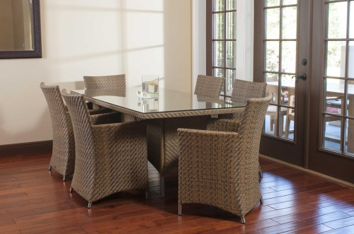 Valencia Wicker & Stainless Steel Dining Set - Picture B