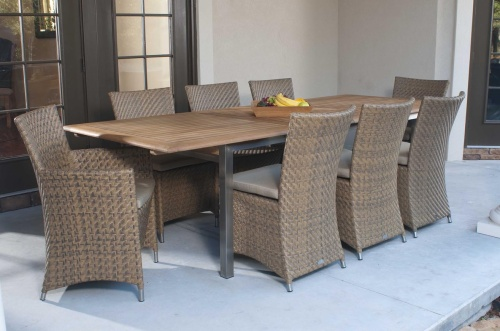Vogue Valencia Teak and Wicker Dining Set - Picture A