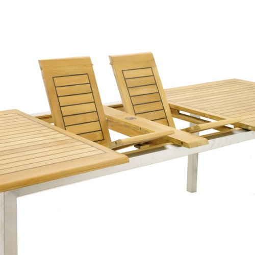 Vogue Valencia Teak and Wicker Dining Set - Picture C