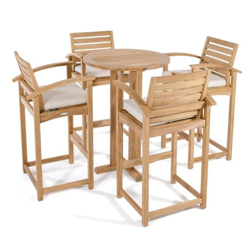 round teak bar height tables