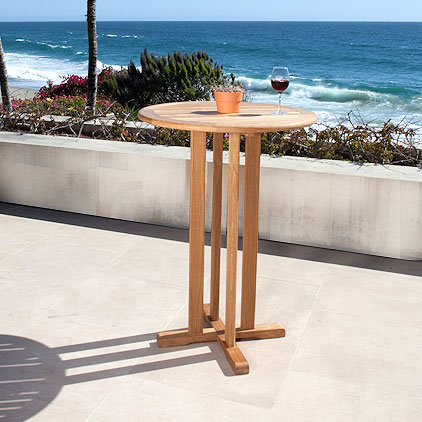 outdoor teak bistro table bar height